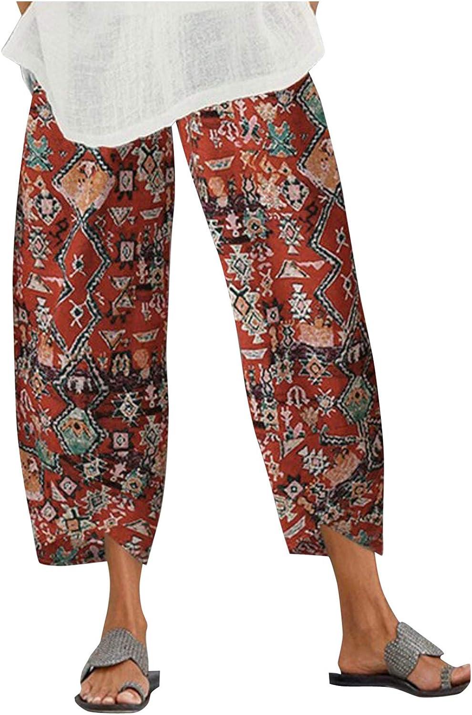 JIANGZHo Women Wide Leg Plaid Print Pants Summer Loose Casual Beach Boho Drawstring Elastic Waist Capris Crop Pants
