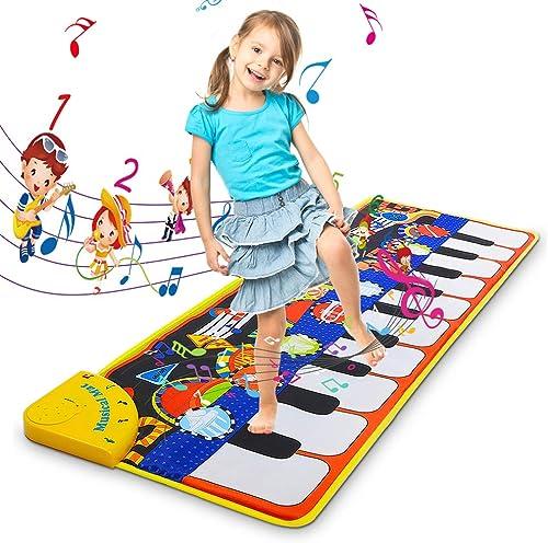 Piano Jouet Enfant, Tapis de Piano Musical Tapis de Danse, Piano Enfant Tapis Clavier Musical Tactile & 5 Modes & 8 S...