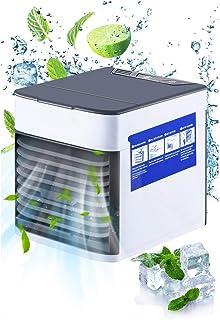 Mini refrigerador de Aire portátil, 3 velocidades Ajustables y Mini purificador de humidificador de Aire Acondicionado 3 en 1, Aire Acondicionado Personal USB con luz LED de Noche para niños de ofi