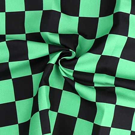 CCINEE 和柄 布 生地 巾約150cm切売カット 手作り プレゼント コスプレ (グリーン, 1m)
