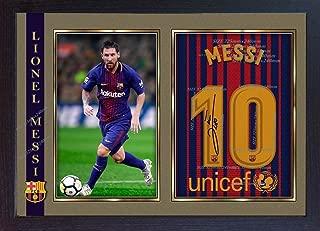 S&E DESING Lionel Messi Barcelona Autograph Signed Poster Photo Print Framed #006