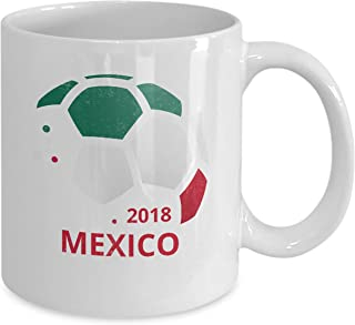 Mexican National Football Team Coffee Mug - Seleccion Mexicana de Futbol Mexico Soccer Fan Country Flag Ceramic White 11oz Tea Cup. Set of 1.
