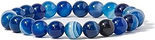 ブルー 縞瑪瑙 ブレスレット(カイヤナイトカラー) 青 メノウ アゲート ストライプ ブルーアゲート 青縞瑪瑙 天然石 ブレスレット 魔除け 厄除け お守り 数珠 瑪瑙 パワーストーン