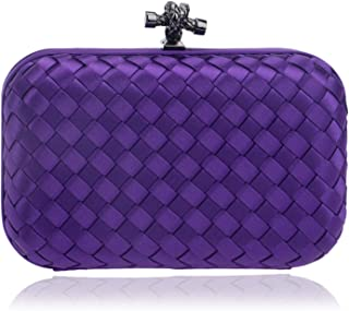 Clutch Handbag Weaving Dinner Crossbody Bag Woman Banquet Shoulder Bags Evening Dress Wallet Gold Cosmetic Bag Black Stripe Pocket (16×6×10cm)
