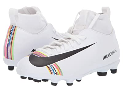 Nike Kids Mercurial Superfly 6 Club CR7 Soccer (Little Kid/Big Kid) (White/Black/White) Kids Shoes