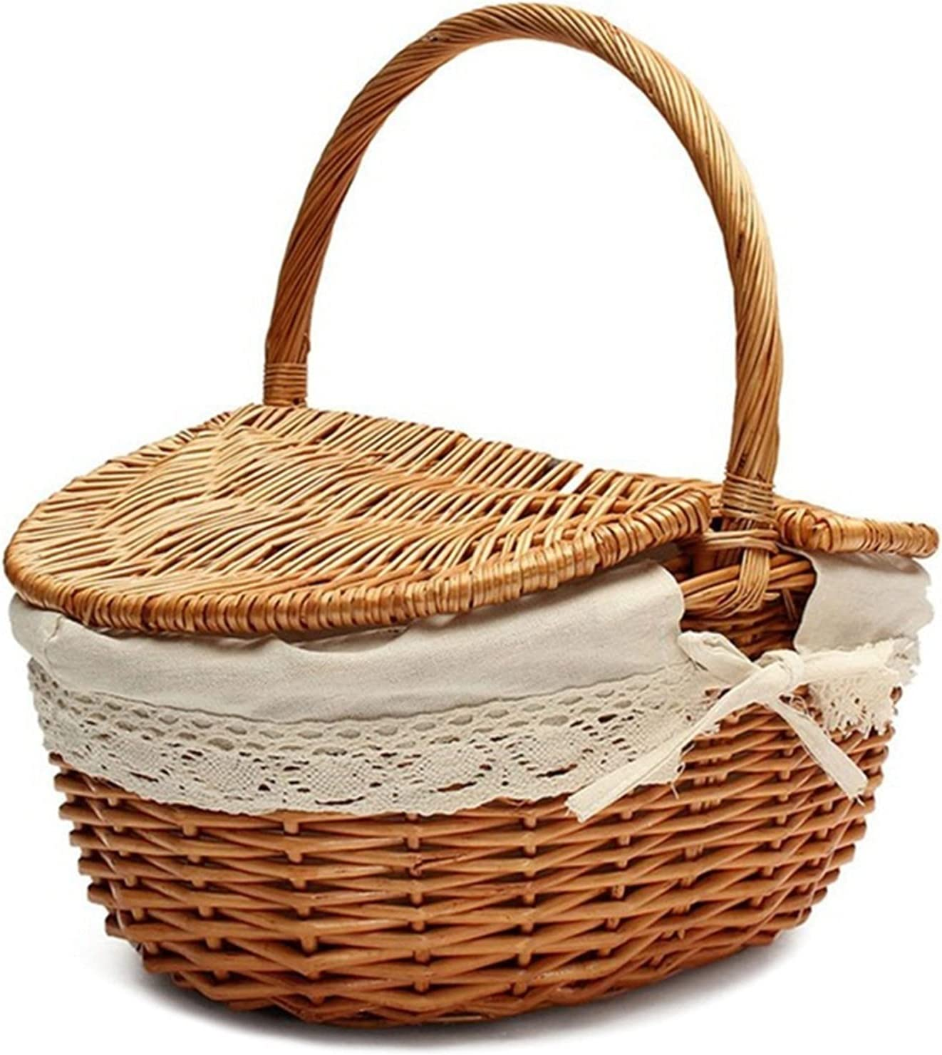 Storage basket Year-end gift New-Handmade Max 51% OFF Wicker Handle with Basket Cam