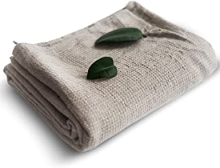 Pure 100% Linen Bath Towel - Stone-Washed 30 x 60 inch Soft Lightweight Travel Towel - Waffle Weave Quick Dry Beach Towel...