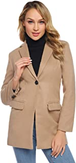 Abollria Cappotto Donne Elegante per Autunno Inverno con Due Tasche Comode Chiusura a Bottoni Giacca Maniche Lunghe Boyfriend Stile