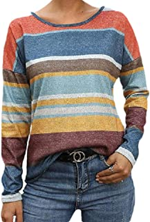 HEFASDM Womens Striped Colorful Lounge Long Sleeve Blouse Crew Neck Tees Top