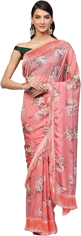Inddus Pink Organza Digital Print Saree with Fringes lace Saree Sari For Women Wedding