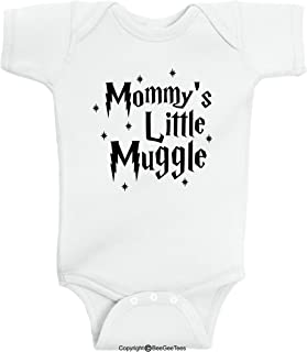 2f149394e BeeGeeTees Mommy's Little Muggle Cute Wizard Baby Romper Wizard Onesie (6  Months, White)