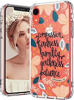 MOSNOVO iPhone XR Case, Clear iPhone XR Case, Clothe Yourselves Quotes Floral Flower Pattern Clear Design Transparent Plastic Hard Back Case with TPU Bumper Protective Case Cover for Apple iPhone XR