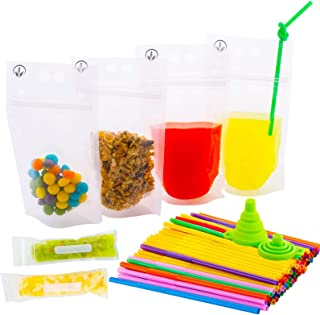 Time Saver Drink Pouches with Double Zipper for Clear Smoothie Bags - Straws and Popsicle Bags and Silicone Funnel +Ebook -176-Pcs| Food and Juice Reusable Container |Disposable and Non-Toxic,BPA Free
