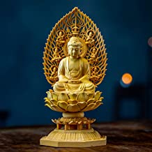PPCP 18CM Sakyamuni Solid Wood Japan Carving Buddha Statue God Hand Carved Feng Shui Buda Statues for Home