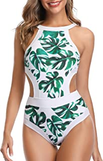 Holipick Women One Piece Swimsuit High Neck Floral Printed Cutout Bathing Suits