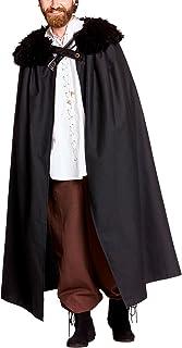 Reloj de noche del cabo traje con cuello de piel para el Juego de Tronos ventiladores de Elbenwald negro