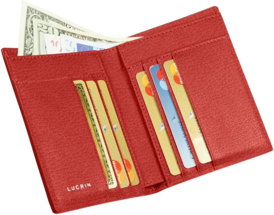 Lucrin - Luxury Wallet - Red - Granulated Leather