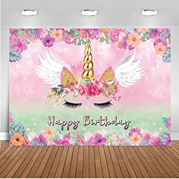 Leyiyi Unicorn Theme Birthday Party Backdrop 8x8ft Customized Photography Background White Banner Happy Birthday Colorful Balloon Double Birthday Cake Standing Cute Unicorn Baby Pink Background