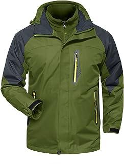 MAGCOMSEN 3-in-1 Men's Hiking Warm Fleece Waterproof Ski Jacket Hooded Raincoat