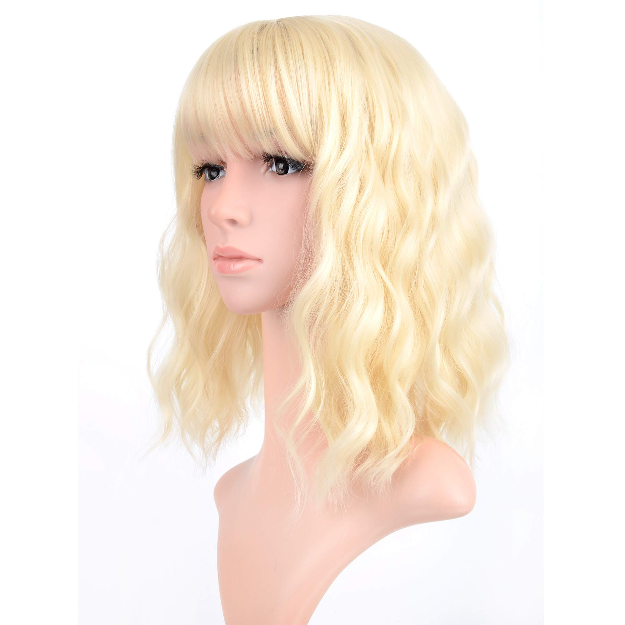 Vckovcko Blonde Pastel Wavy Wig With Air Bangs Women Short Wavy Light Blonde Wigs Synthetic Wig For Cosplay Party Bob Buy Online In India At Desertcart