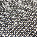 Werthers Stoffe Stoff Meterware Baumwolle Indigo blau Kreis