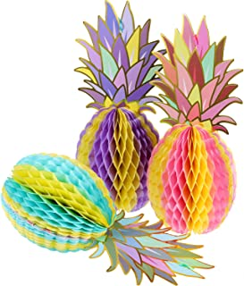 Hestya 6 Pieces Colorful Tissue Pineapple Honeycomb 12 Inch Paper Hawaii Fruit for Tropical Hawaiian Summer Theme Party Be...