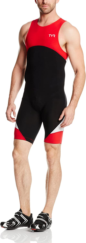TYR Sport TMZSJB6A002L Men's Sport Carbon Zipper Back Short John Skin Suit with Pad