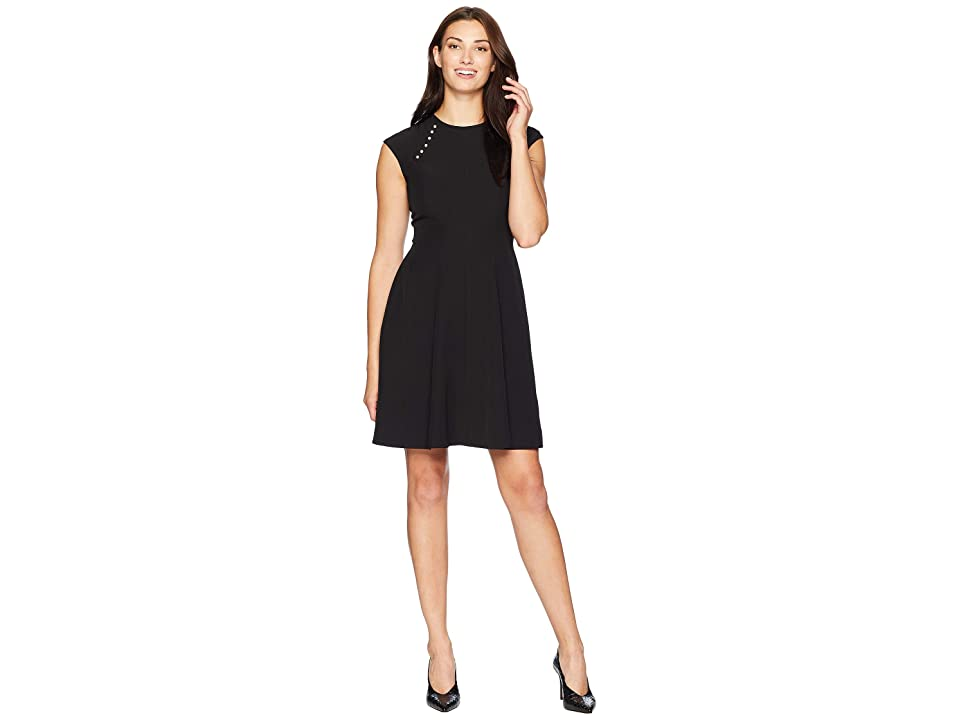 London Times Drop Shoulder Fit Flare Dress (Black) Women
