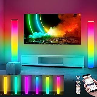 Lampadaire à LED de couleur RGB salon de style moderne, 2 Pièces Lampadaire à colonne à luminosité réglable avec télécomma...