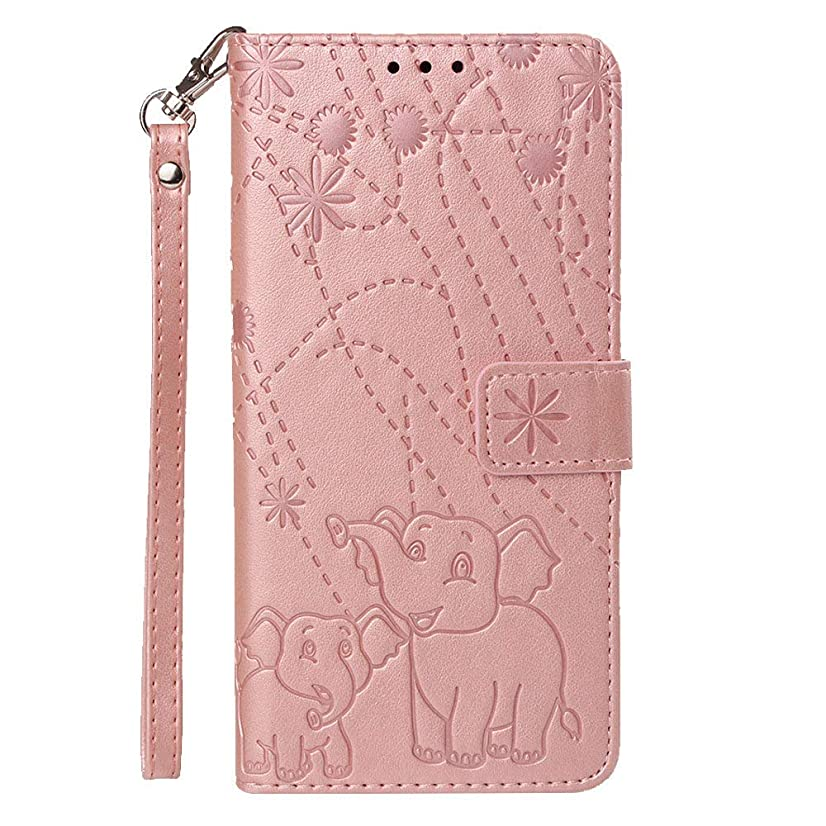 JanCalm for iPhone x case for Women with Card Holder Wallet Stand Slim Shockproof Protective with Magnetic Back Detachable Wrist Strap Leather iPhone Xs case Wallet for Cash (Rose Gold)