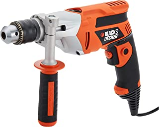 Black+Decker 710W 13mm 3,100 RPM Electric Hammer Percussion Drill with Kitbox for Wood, Metal & Concrete Drilling, Orange/...