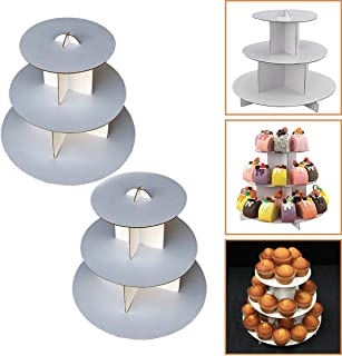 """Adorox 2 Pcs. 3-Tier (12""""W x 10""""H) White Round Cardboard Cupcake Stand Dessert Tower Treat Stacker Pastry Serving Platter Food Display (Round Stand (2Pcs.))"""