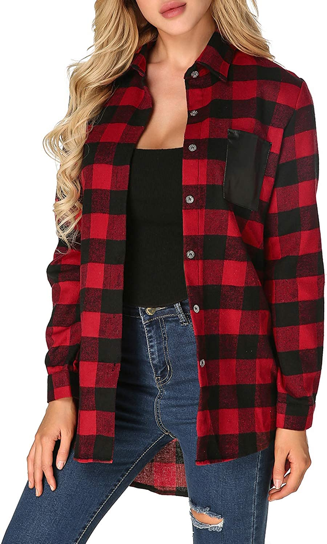 ZANZEA Womens Buffalo Plaid Flannel Shirt Button Down Long Sleeve Tops Collar with Pocket