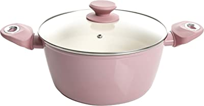 Gibson Home Plaza Café Forged Aluminum Non-stick Ceramic Cookware with Induction Base and Soft Touch Bakelite Handle, 4.5-Quart Dutch Oven, Lavender Rose