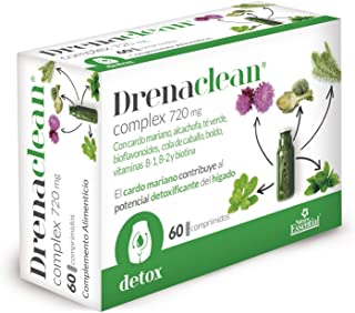 Drenaclean® 720 mg 60 comprimidos con cardo mariano. alcachofa. bioflavonoides. té verde. cola