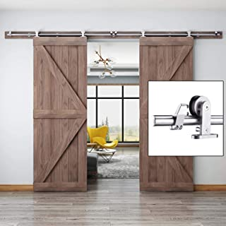 EaseLife 10 FT Modern Stainless Steel Double Door Sliding Barn Door Hardware Track Kit,Top Mount,Slide Smoothly Quietly,Easy Install,Fit Double 30