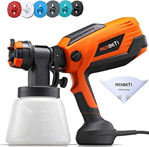 REXBETI 700 Watt High Power Paint Sprayer, 1000ml/min HVLP Spray Gun, with 6 Nozzles Sizes & 3 Patterns, 5-pcs Paint Strainers, Easy Spraying and Cleaning for Painting Furniture, Fence and Chairs
