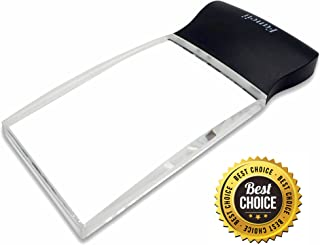 FC Optics LED Light 2X Large Rectangular Handheld Magnifier Reading Magnifying Glass - 58 x 102mm Rimless Distortion-Free Lens for Seniors, Low Vision, Books, Pages, Magazines, Newspapers, Maps, and More