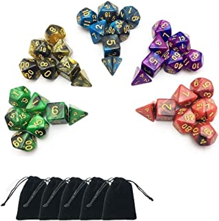 Arolan 5 x 7-Die Series Two Colors Dungeons and Dragons DND RPG MTG Table Games Dice with Free Pouches