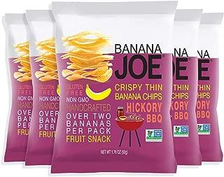 Banana Joe Hickory BBQ Flavored Banana Chips, Gluten-Free, No MSG, No Preservatives, 1.76oz (5-Pack).