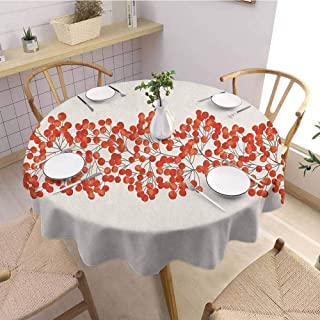 EMODFJCXZ Covering Round Tablecloth Rowan Border with Wild Red Mountain Ashes on Twigs Hand Painted Natural Artwork Print Round Table D50 Orange and Pearl