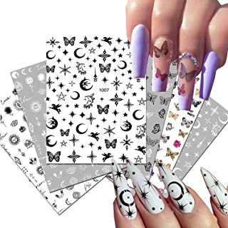 Metallic Nail Sticker 3D Self-Adhesive Nail Decals Black White Butterfly Star Moon Line Nail Design Stickers Constellation...