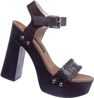 Retro Wooden Block Heel Sandal - Lightweight Boho 70s Sculpted Platform