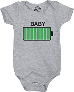 Crazy Dog T-Shirts Baby Battery Fully Charged Funny Newborn Infant Creeper Bodysuit for Newborn