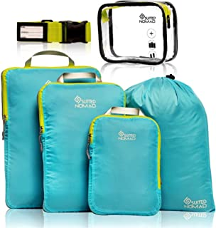 Compression Packing Cubes Set,Ultralight Travel Organizer Bags (Caribbean Blue, 6Piece)