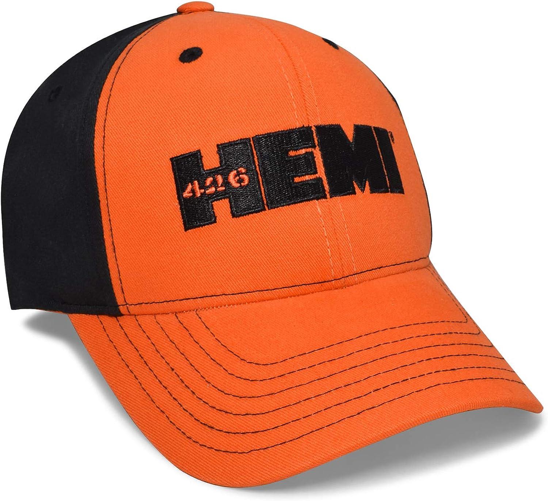 Checkered Flag Orange Red and Black Sports Baseball Cap with HEMI Logo for Dodge Jeep RAM