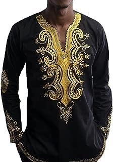 Men's Long Sleeve African Dashiki Longline T-Shirt Autumn Blouse Tops
