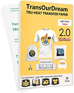 TransOurDream Upgraded Iron on Heat Transfer Paper for T Shirts (20 Sheets, A4) Iron-on Transfers Paper for Light Fabric P...