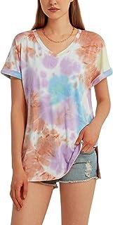 Woolicity Maglietta da Donna Magliette Scollo a V T-Shirt Manica Corta Camicie Basic Tie Dye Top Camicia Casual Sports Shi...
