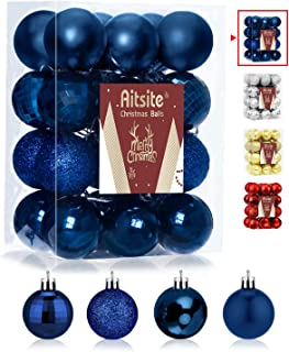 Best Aitsite 24ct Christmas Tree Ornaments Set 1.57 inches Mini Shatterproof Holiday Ornaments Balls for Christmas Decorations, Navy Blue Review